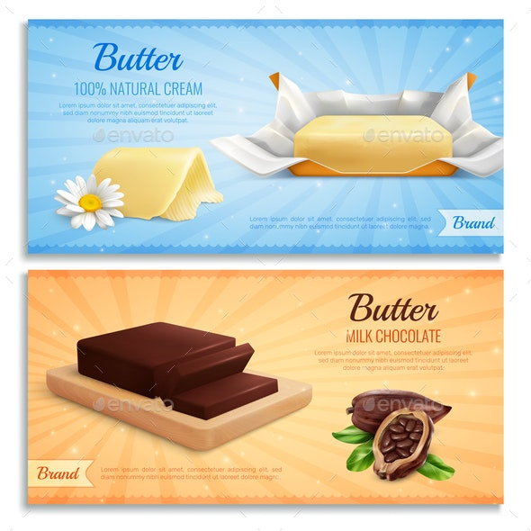 Butter Advertising Realistic Banners - Food Objects