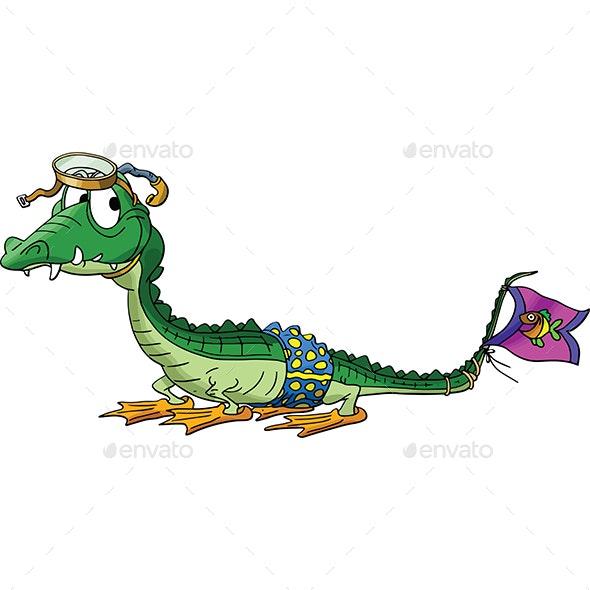 Cartoon Alligator Goes Snorkeling Vector Illustration - Animals Characters