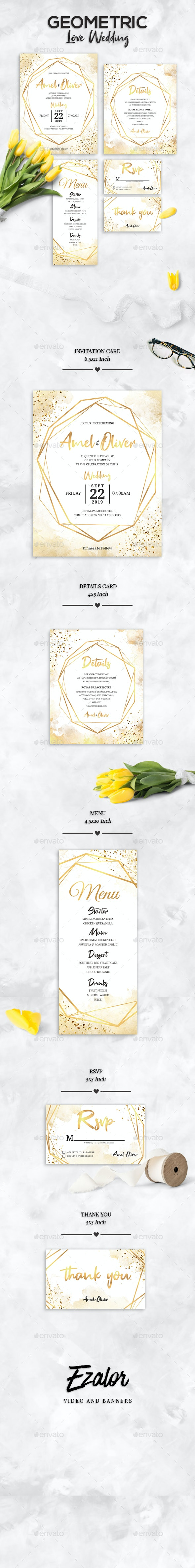 Geometric Wedding Set - Weddings Cards & Invites
