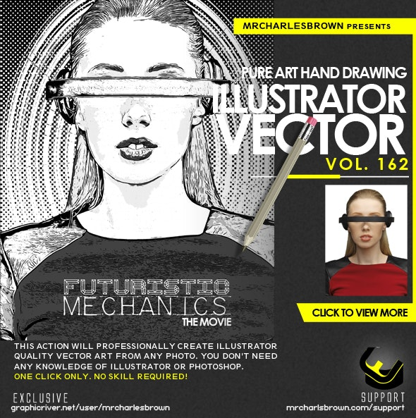 Pure Art Hand Drawing 162 – Illustrator Vector v2 - Photo Effects Actions