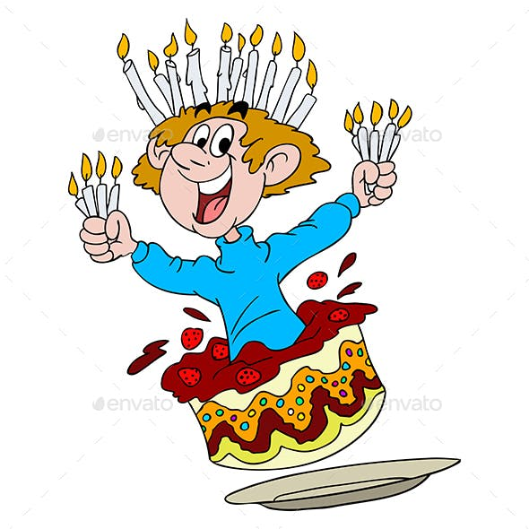 Happy Birthday Man Getting out of a Cake With Candles in His Hands Vector Illustration
