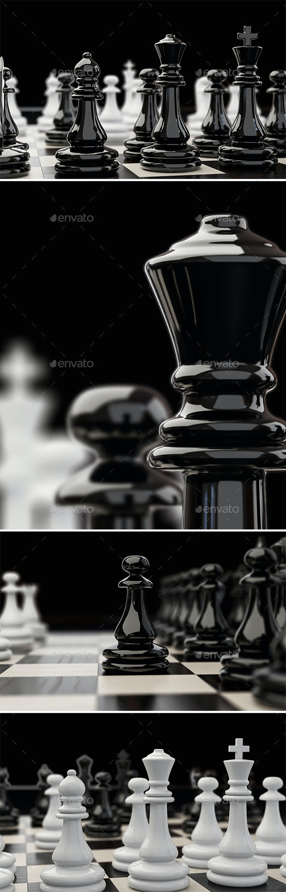 Chess Pieces Extremely Close Up Mini Set - Objects 3D Renders