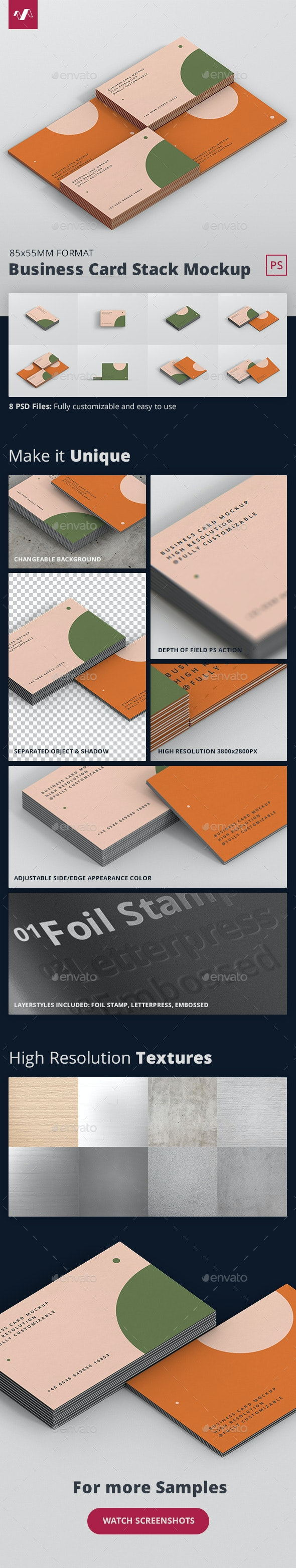 Business Card Stack Mockup - Business Cards Print