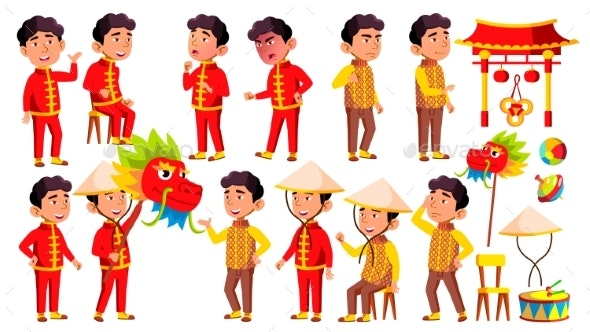 Asian Boy Kindergarten Kid Poses Set Vector - People Characters