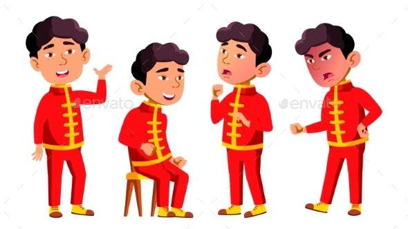 Asian Boy Kindergarten Kid Poses Set Vector - People Characters