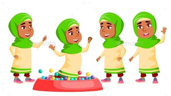 Arab, Muslim Girl Kindergarten Kid Poses Set - People Characters