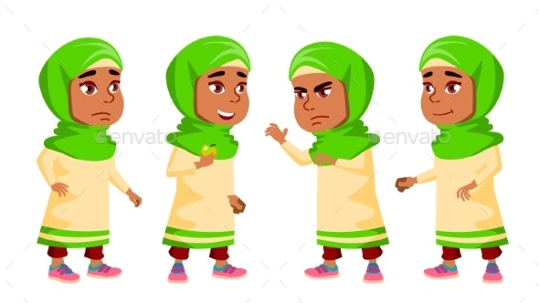 Arab, Muslim Girl Kindergarten Kid Poses Set - People Characters