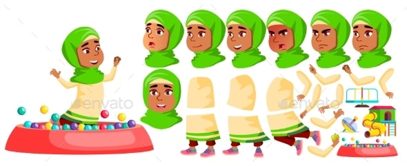 Arab, Muslim Girl Kindergarten Kid Vector - People Characters
