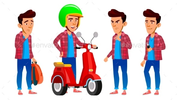 Asian Boy Set Vector. High School Child. Fast - People Characters