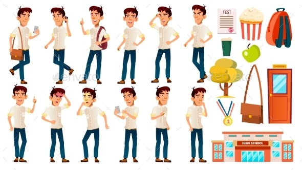 Asian Boy Schoolboy Kid Poses Set Vector - People Characters
