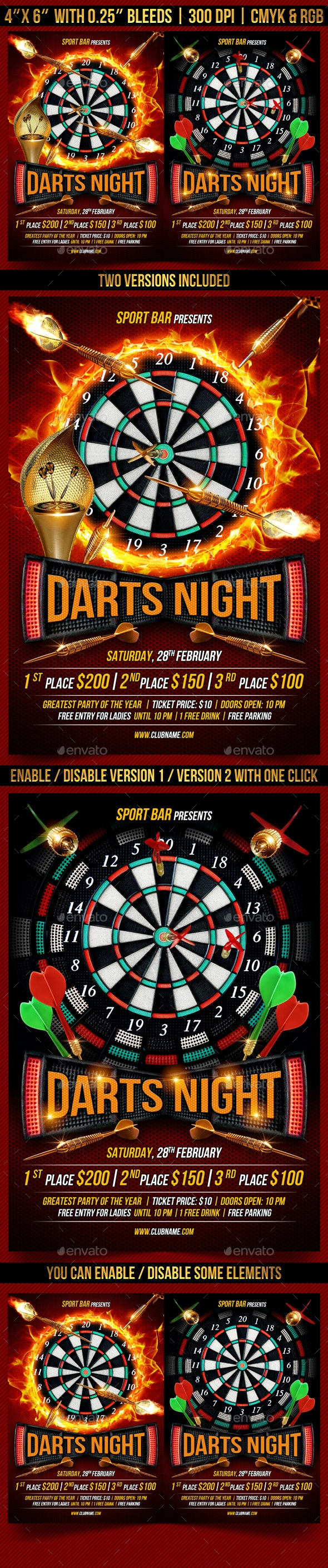 Darts Night Flyer Template - Clubs & Parties Events