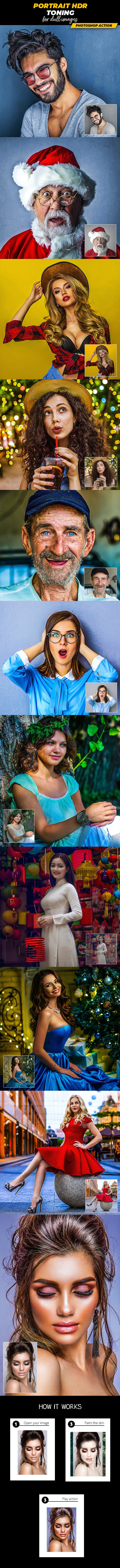 Portrait HDR Toning - Photoshop Action - Photo Effects Actions
