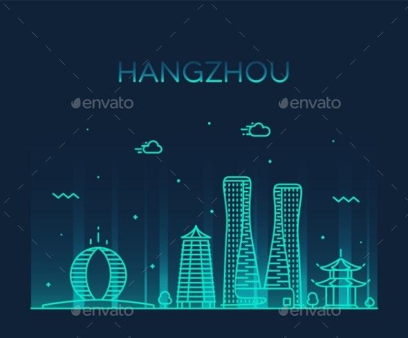 Hangzhou Skyline Zhejiang East China Vector City - Buildings Objects