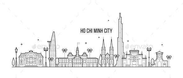 Ho Chi Minh Skyline Vietnam City Buildings Vector - Buildings Objects