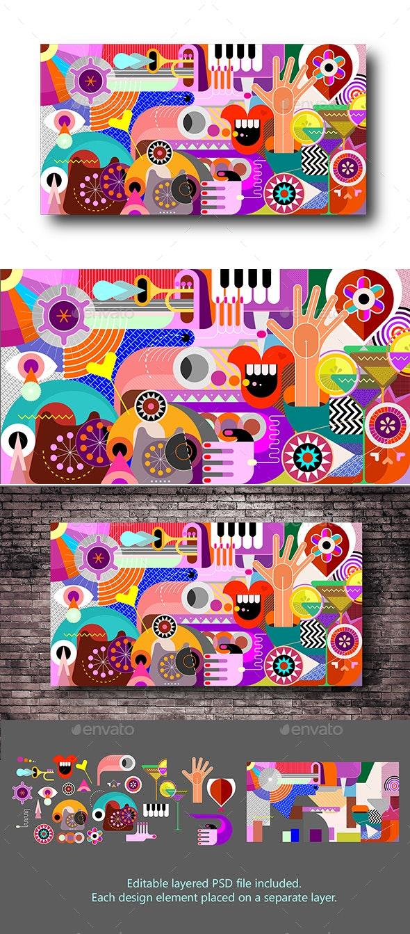 Abstract Art Vector Background - Abstract Conceptual