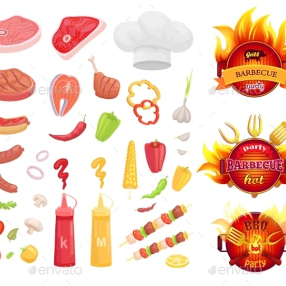 BBQ Barbecue Party Icons Set Vector Illustration