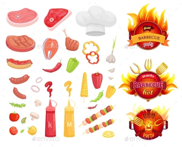 BBQ Barbecue Party Icons Set Vector Illustration - Food Objects