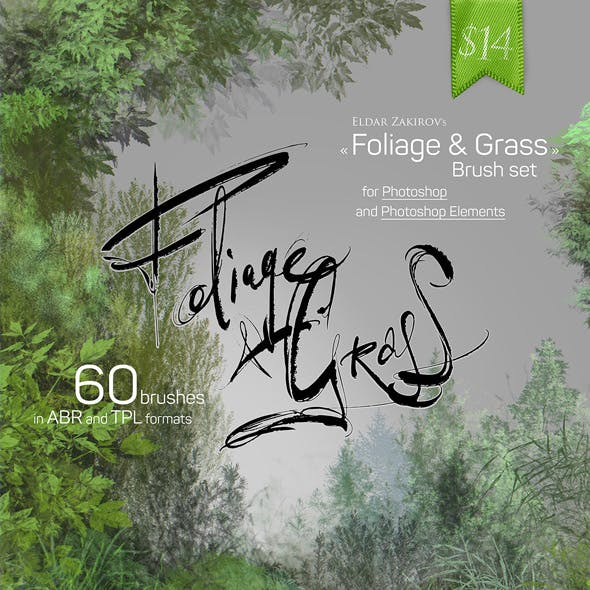 Foliage & Grass. 60 brushes with settings for Adobe Photoshop and Photoshop Elements in ABR and TPL