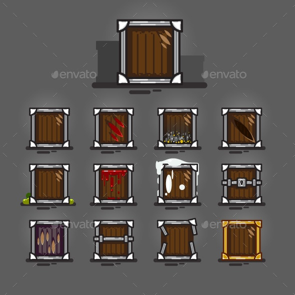 Crates for Video Games - Man-made Objects Objects