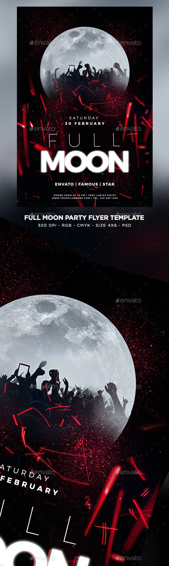 Full Moon Party Flyer - Clubs & Parties Events