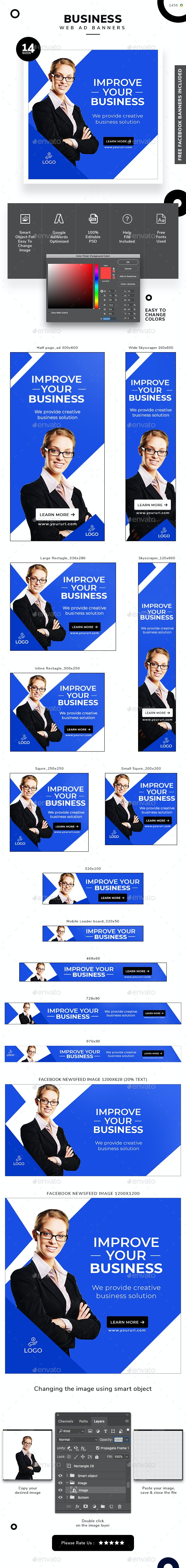 Business Web Banner Set - Banners & Ads Web Elements