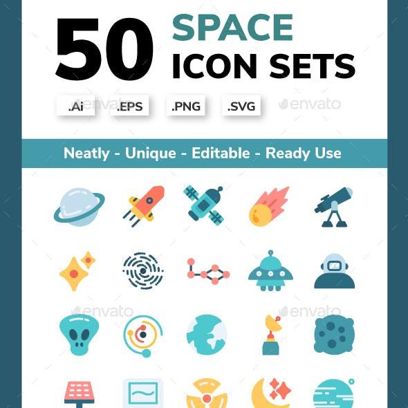 50 Space Exploration Icon Set