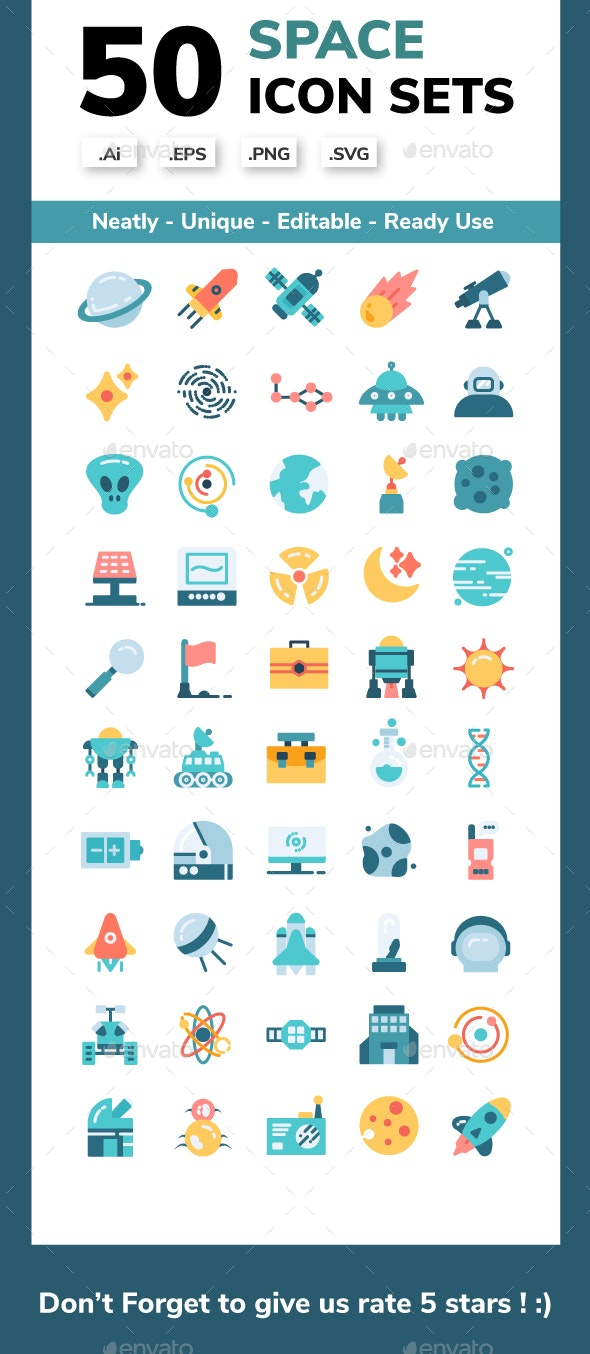50 Space Exploration Icon Set - Miscellaneous Icons