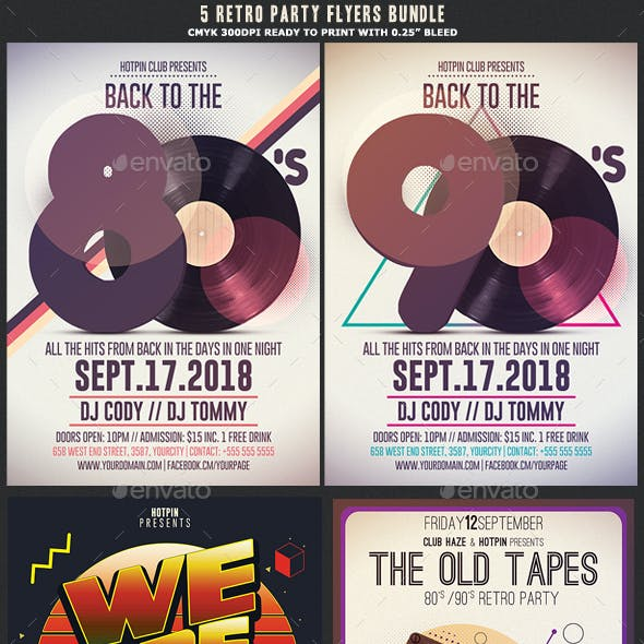 Retro Party Flyer Flyer Template Bundle