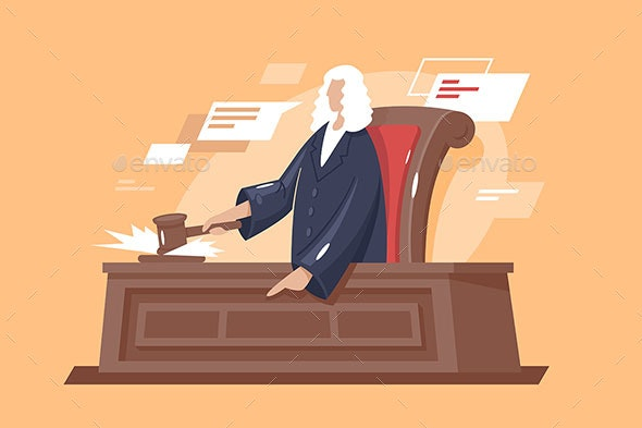 Flat Strong Man Court with Hammer Judge - Miscellaneous Vectors