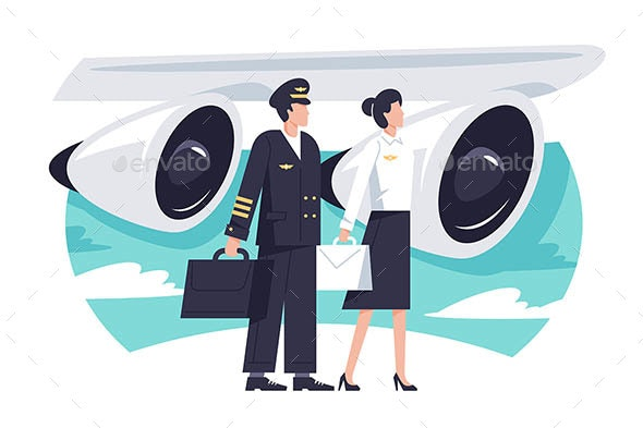 Flat Man and Woman Aircrew in Background Aircraft - Travel Conceptual