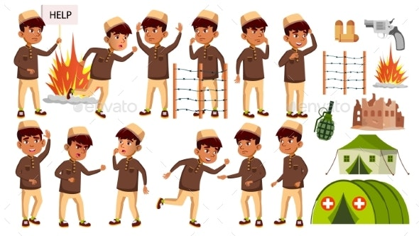 Arab, Muslim Boy Kid Poses Set Vector. Refugee - People Characters