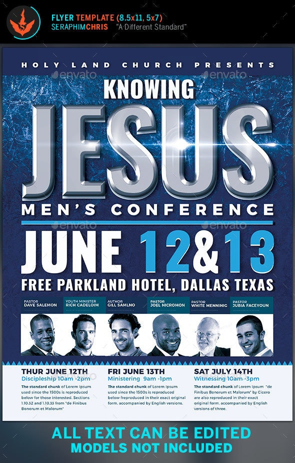 Knowing Jesus Men's Conference Flyer Template - Church Flyers