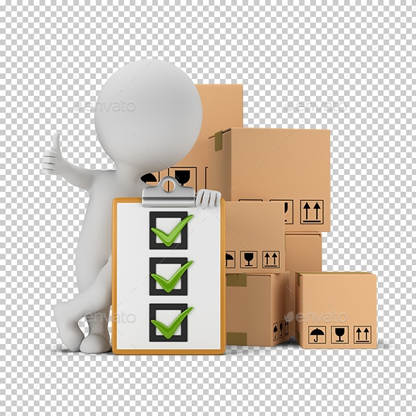 3D Small People - Checklist and Boxes - Characters 3D Renders