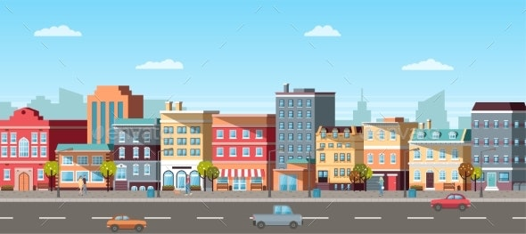 Panoramic View of City, Car and Pedestrian Vector - Buildings Objects