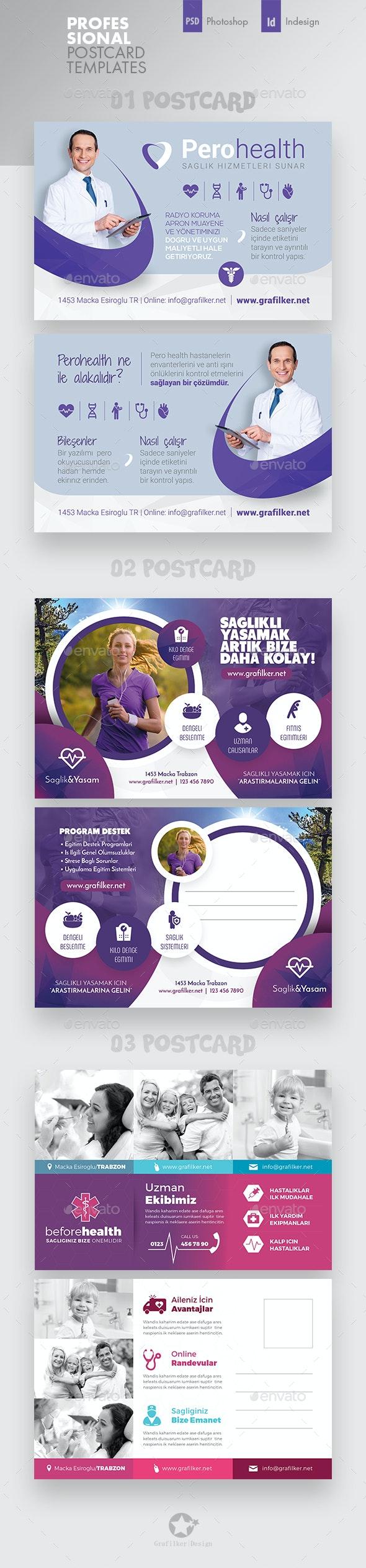 Health Postcard Bundle Templates - Cards & Invites Print Templates