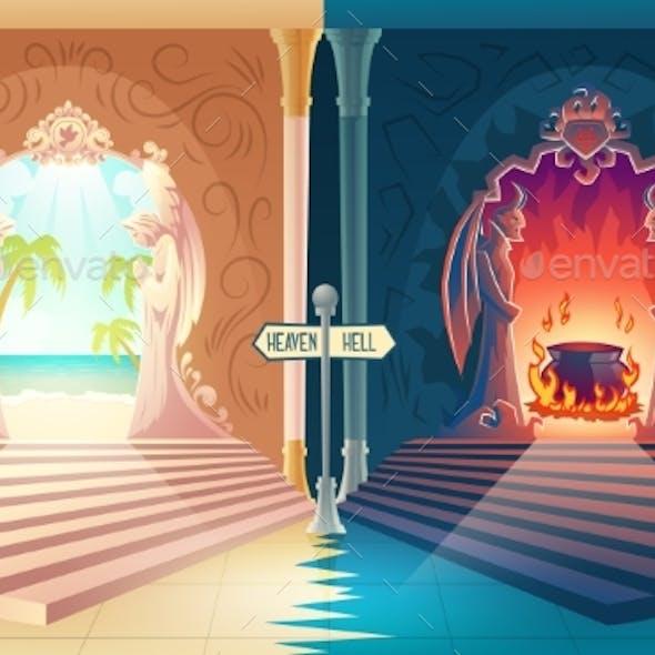 Heaven and Hell Entrances Cartoon Vector Concept
