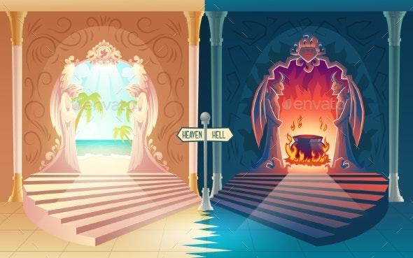 Heaven and Hell Entrances Cartoon Vector Concept - Religion Conceptual