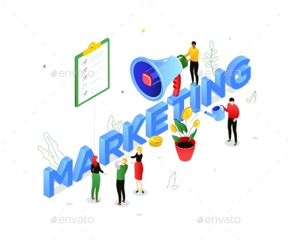 Marketing Strategy - Modern Colorful Isometric - Concepts Business
