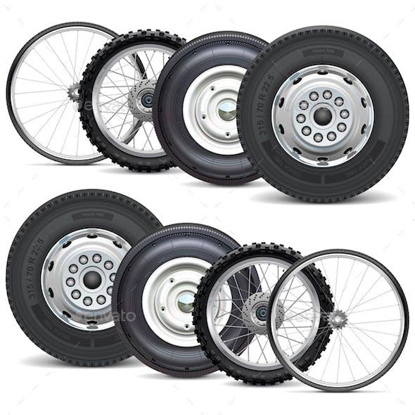 Vector Vehicle Wheels Double Set