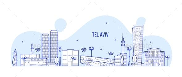 Tel Aviv Skyline Israel City Buildings Vector Line - Buildings Objects
