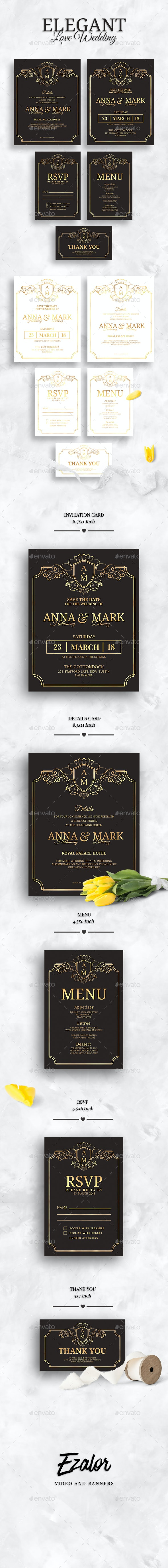 Elegant Wedding Set - Weddings Cards & Invites