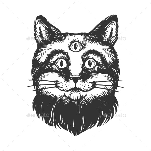 Cat with Three Eyes Engraving Vector Illustration - Miscellaneous Vectors