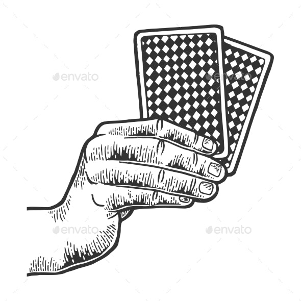 Hand with Playing Cards Sketch Engraving Vector - Miscellaneous Vectors