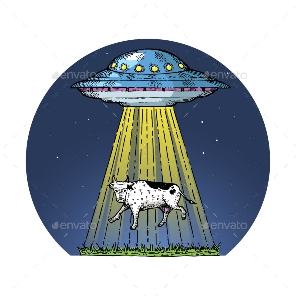 UFO Kidnaps the Cow Color Sketch Engraving - Animals Characters