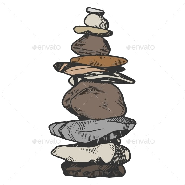Tower of Balancing Stones Color Sketch Engraving - Miscellaneous Vectors