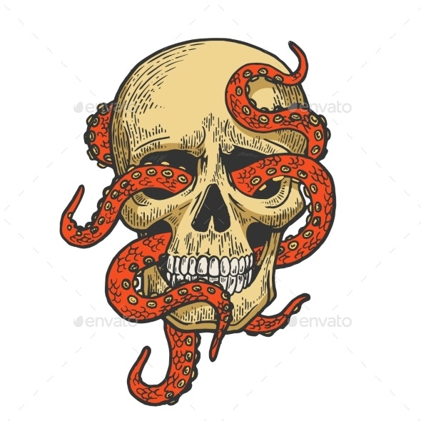 Octopus in Human Skull Color Sketch Vector - People Characters