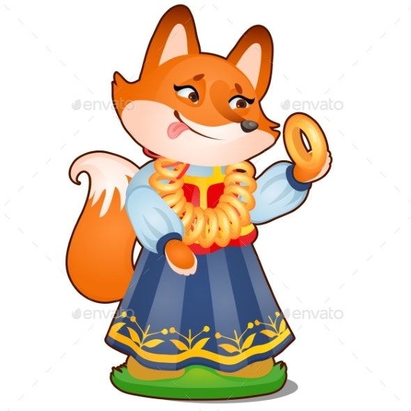 Animated Fox in Clothes Isolated on White - Animals Characters
