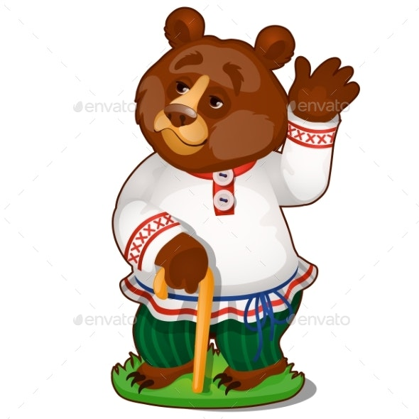 Animated Bear in Clothes Isolated on White - Animals Characters