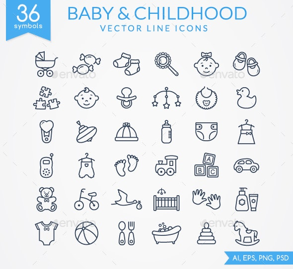 Baby Line Icons - Miscellaneous Icons