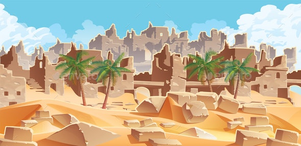 Desert and Palms City Ruins - Backgrounds Decorative